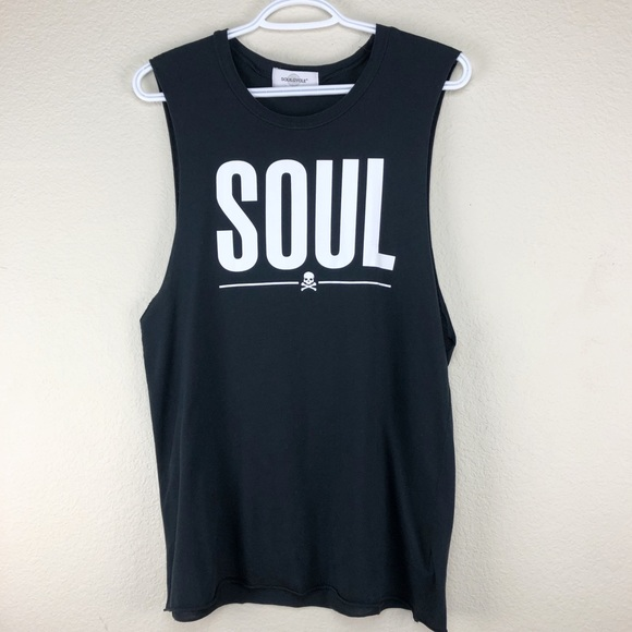 Soulcycle Sleeveless Workout Tank Top Black Skull